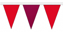 RED AND CLARET TRIANGULAR BUNTING - 10m / 20m / 50m LENGTHS